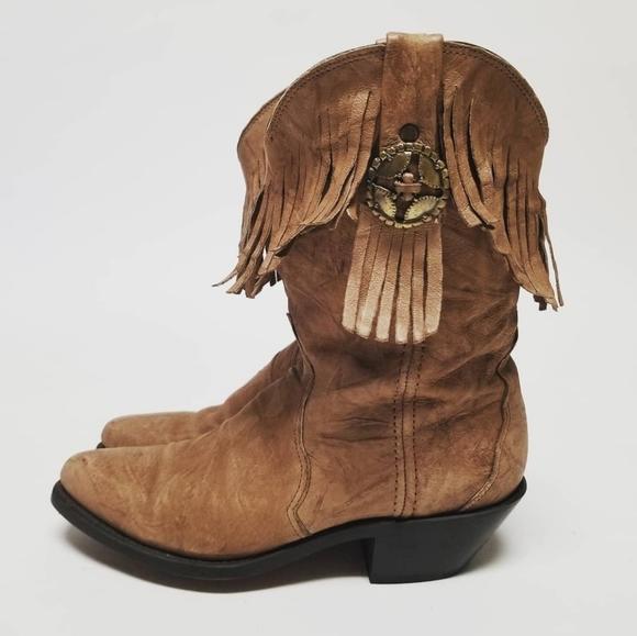 DURANGO Fringe Tan Cowboy Boots